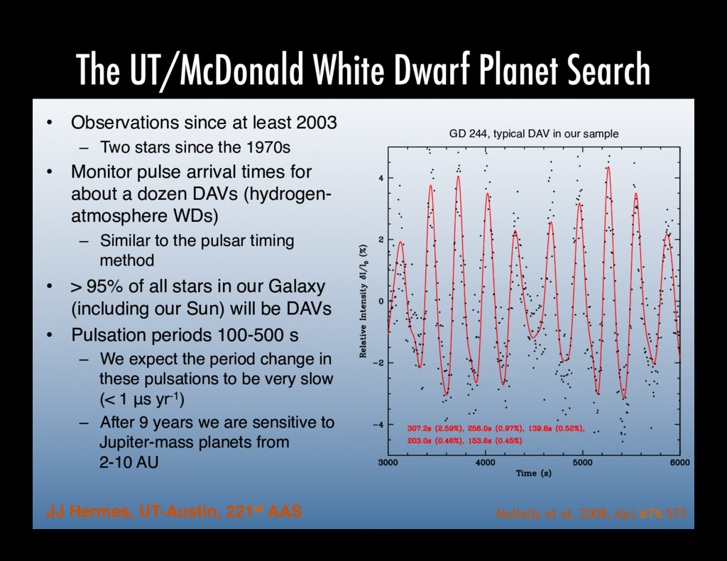 The UT/McDonald White Dwarf Planet Search •  Ob...