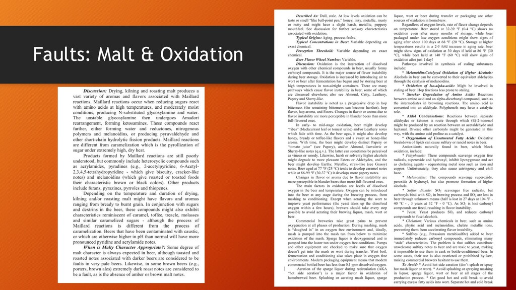 Faults: Malt & Oxidation