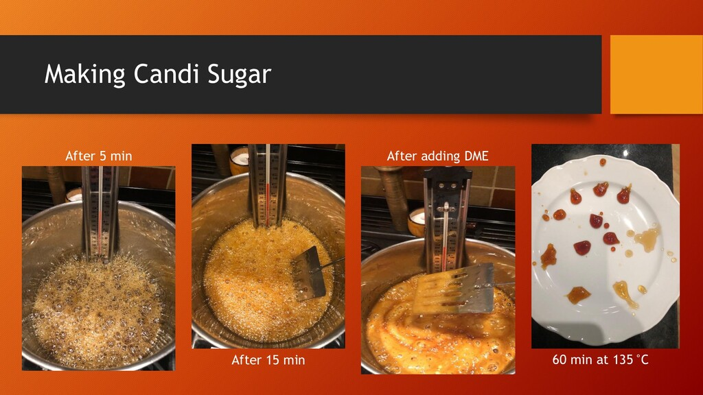 Making Candi Sugar After 5 min After 15 min Aft...