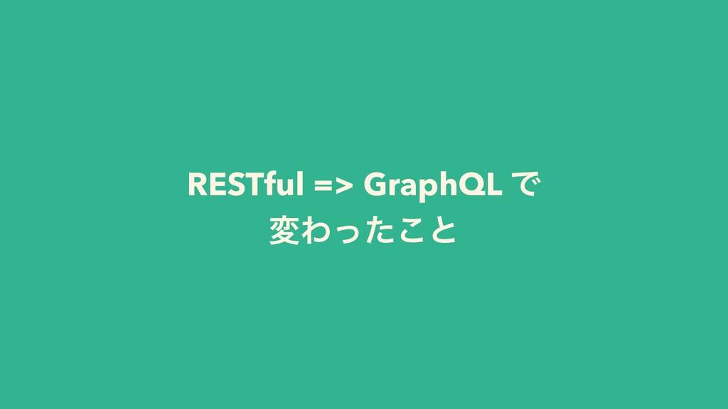 RESTful => GraphQL Ͱ มΘͬͨ͜ͱ