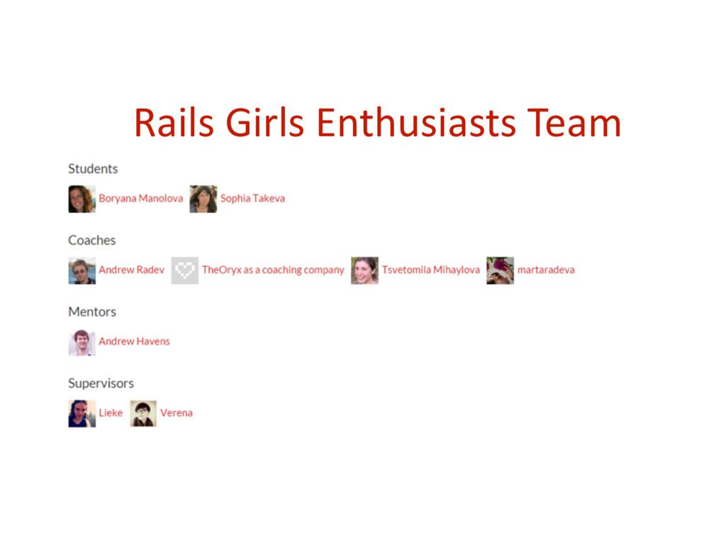 Rails Girls Enthusiasts Team