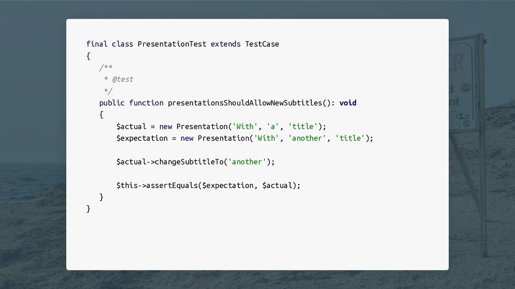 final class PresentationTest extends TestCase {...