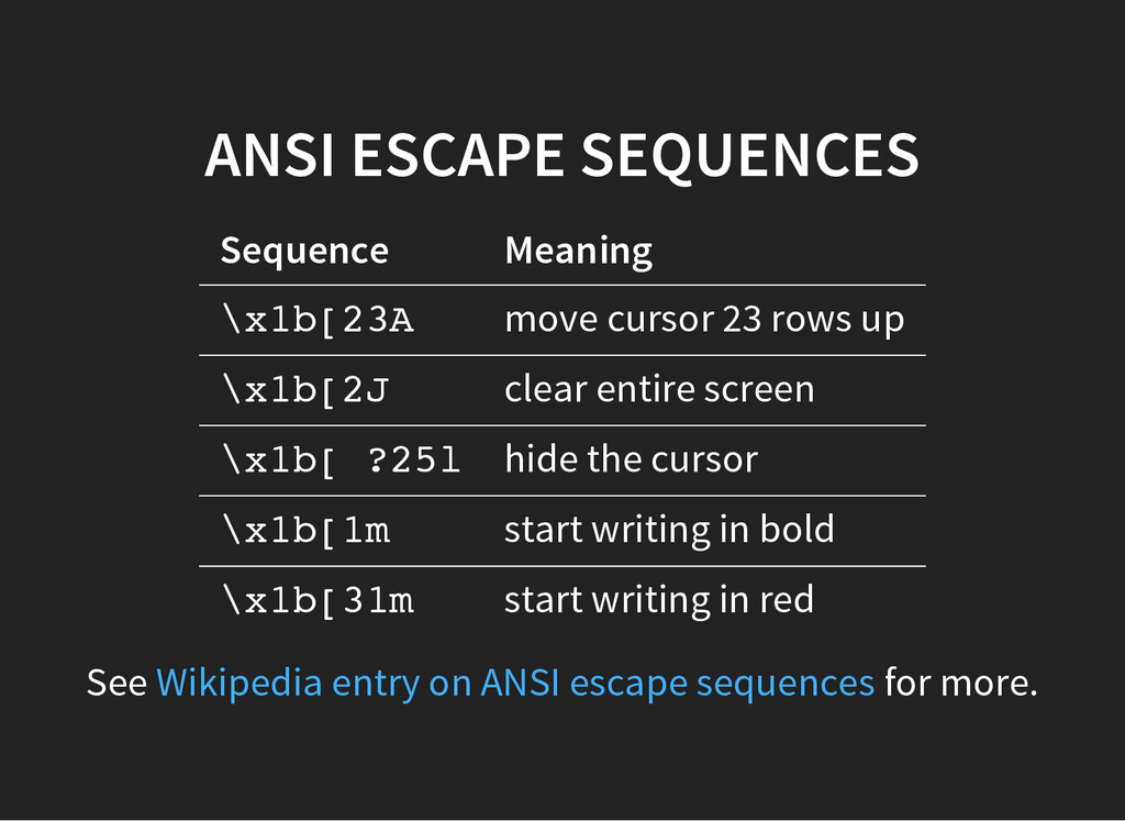 ANSI ESCAPE SEQUENCES Sequence Meaning \ x 1 b ...