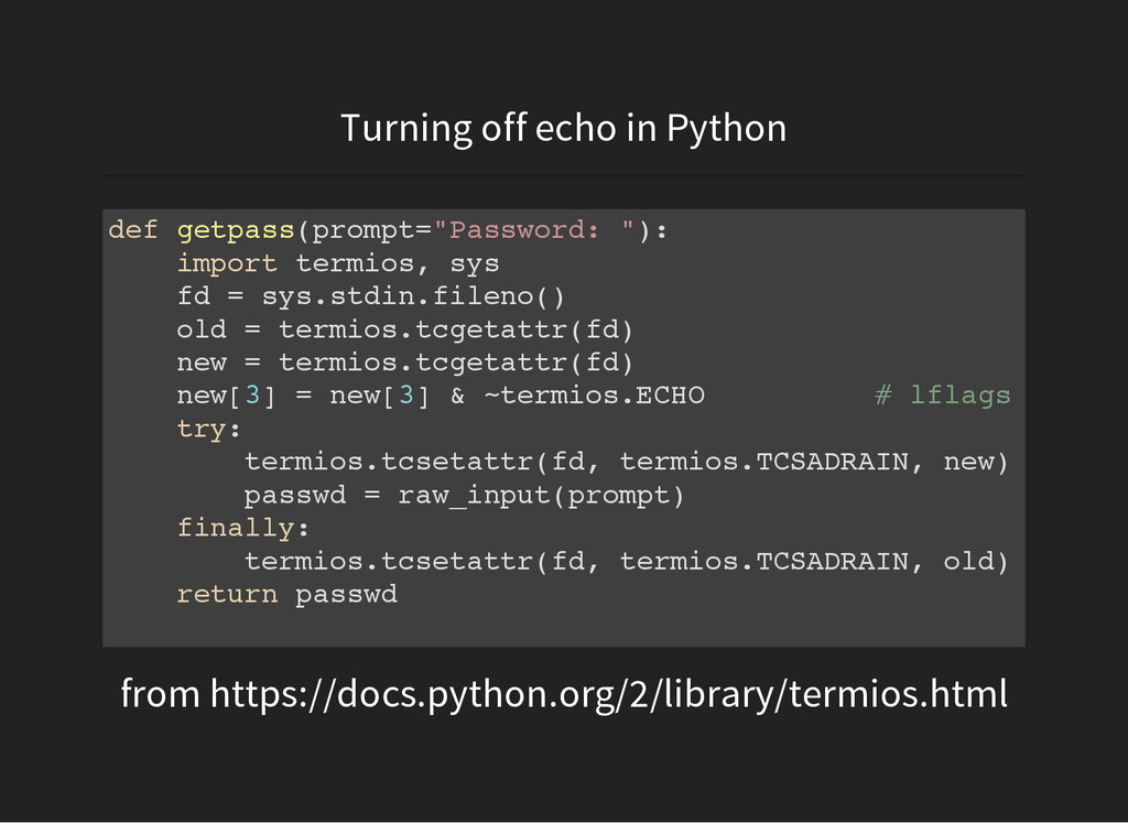 Turning off echo in Python from https://docs.py...