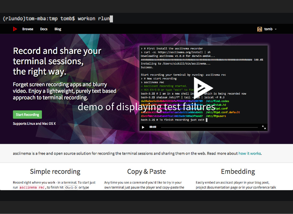 demo of displaying test failures