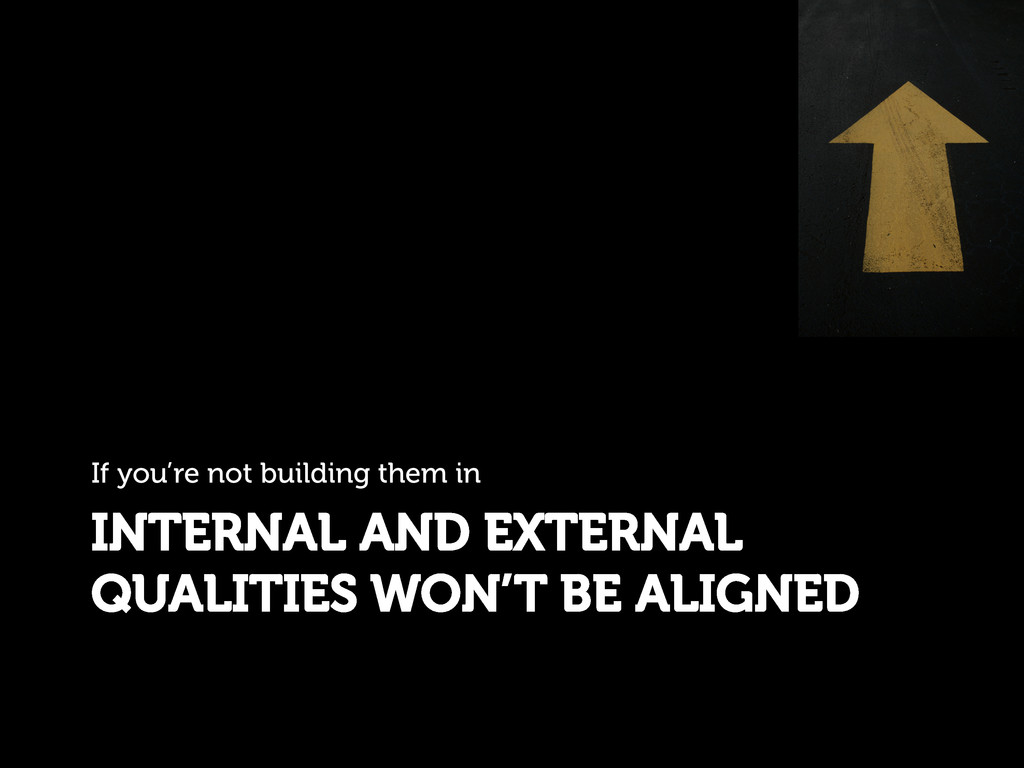 INTERNAL AND EXTERNAL QUALITIES WON'T BE ALIGNE...