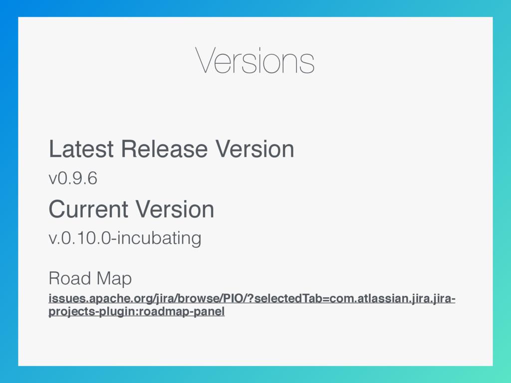 Versions Latest Release Version v0.9.6 Current ...