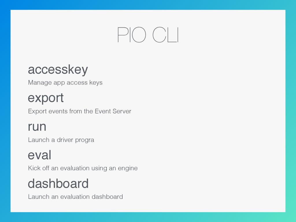 PIO CLI accesskey Manage app access keys export...