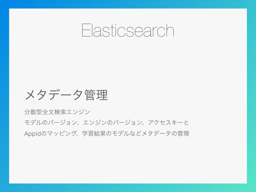 Elasticsearch ϝλσʔλཧ ܕશจݕࡧΤϯδϯ ϞσϧͷόʔδϣϯɺΤϯδ...