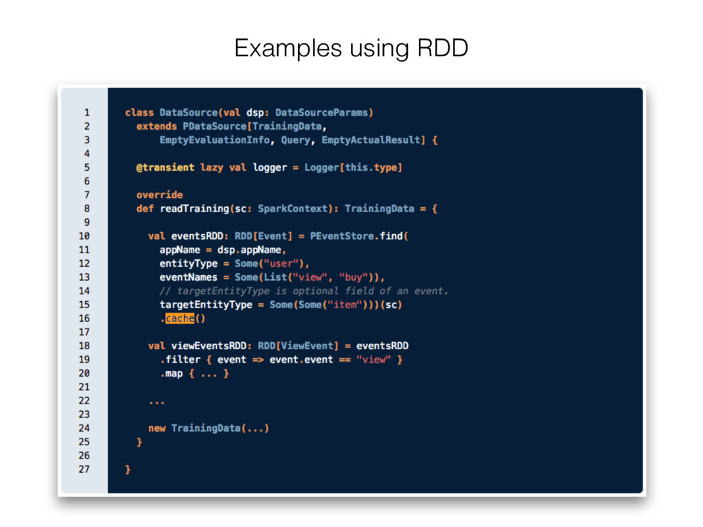 Examples using RDD