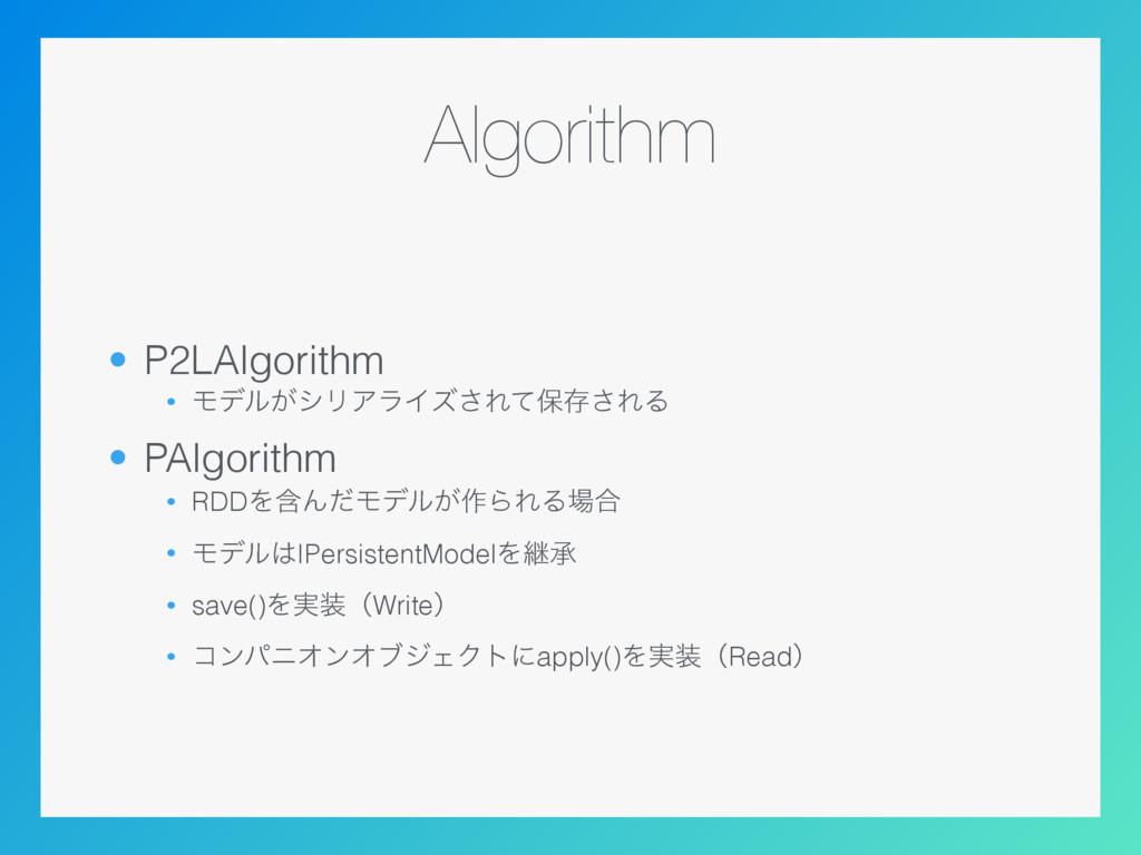 Algorithm • P2LAlgorithm • Ϟσϧ͕γϦΞϥΠζ͞Εͯอଘ͞ΕΔ •...