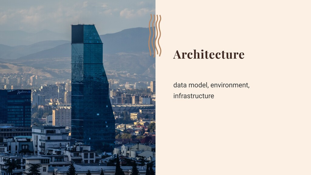Architecture data model, environment, infrastru...