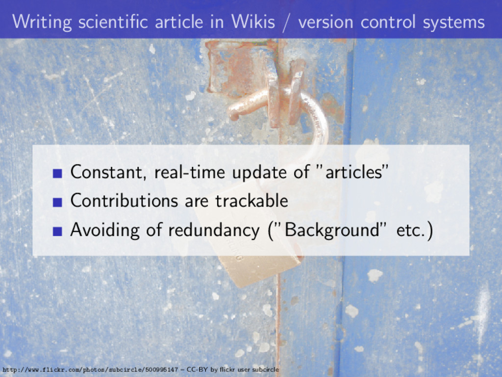 Writing scientific article in Wikis / version co...