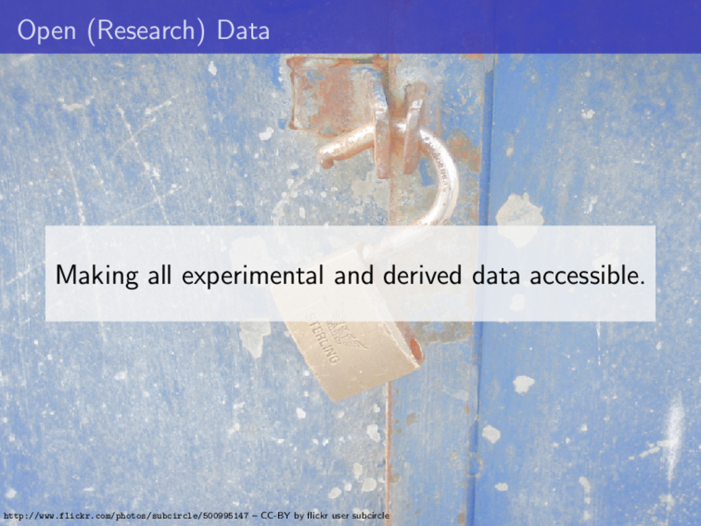 Open (Research) Data Making all experimental an...