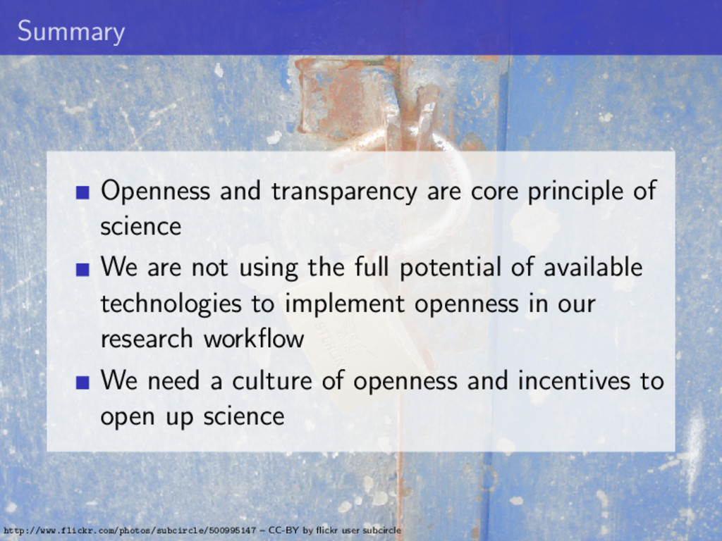 Summary Openness and transparency are core prin...