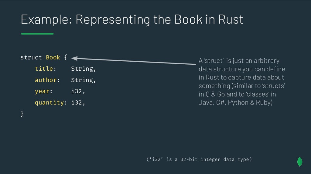 Example: Representing the Book in Rust struct B...