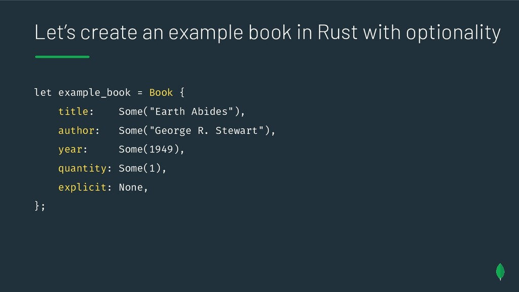 Let's create an example book in Rust with optio...
