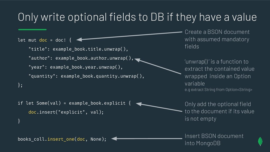 Only write optional fields to DB if they have a ...