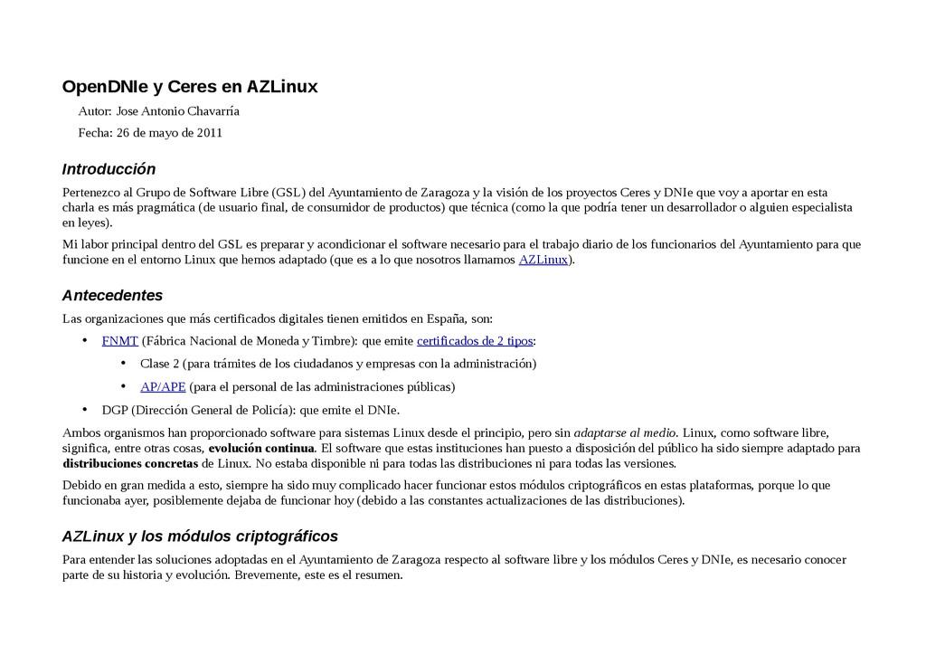 OpenDNIe y Ceres en AZLinux Autor: Jose Antonio...