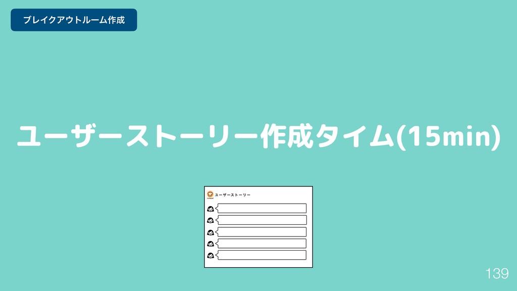 ユーザーストーリー作成タイム(15min) 139 ϒϨΠΫΞτϧʔϜ࡞
