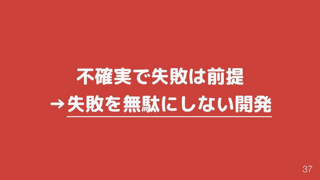 不確実で失敗は前提 →失敗を無駄にしない開発 37