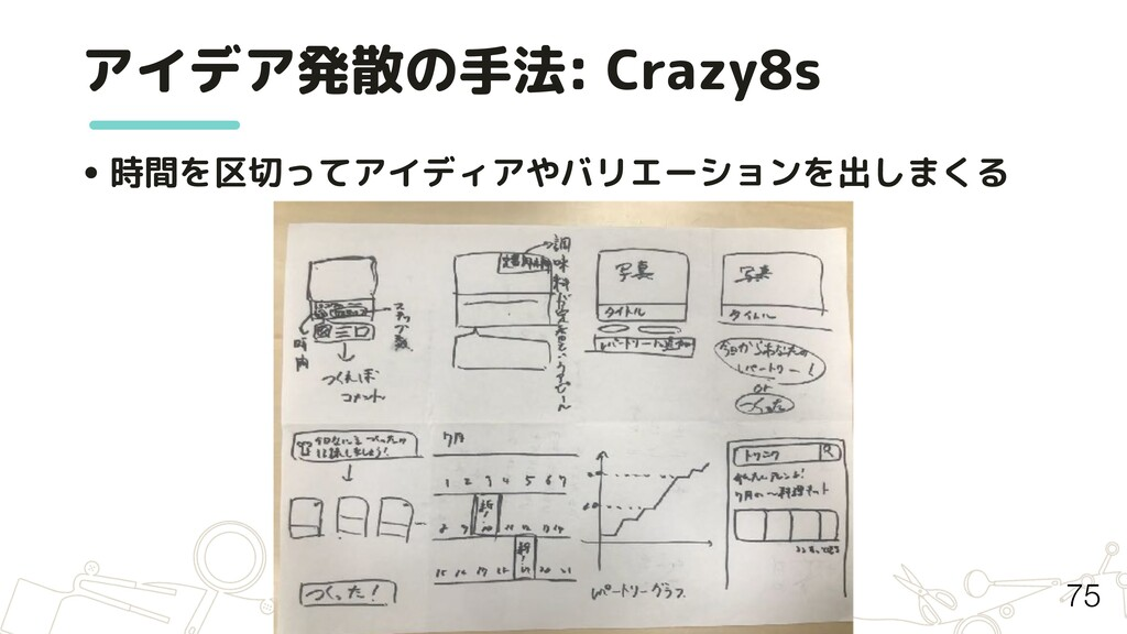 アイデア発散の手法: Crazy8s • 時間を区切ってアイディアやバリエーションを出しまくる...