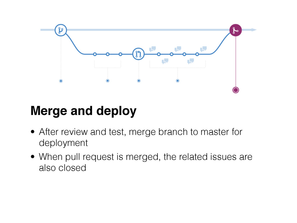 Merge and deploy • After review and test, merge...