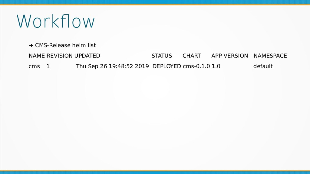 Workflow ➜ CMS-Release helm list NAME REVISION ...