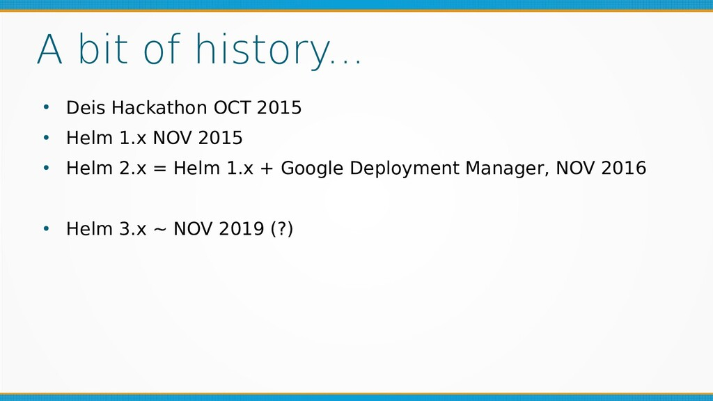 A bit of history... ● Deis Hackathon OCT 2015 ●...