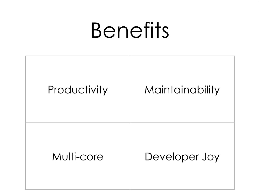 Benefits Productivity Maintainability Multi-cor...