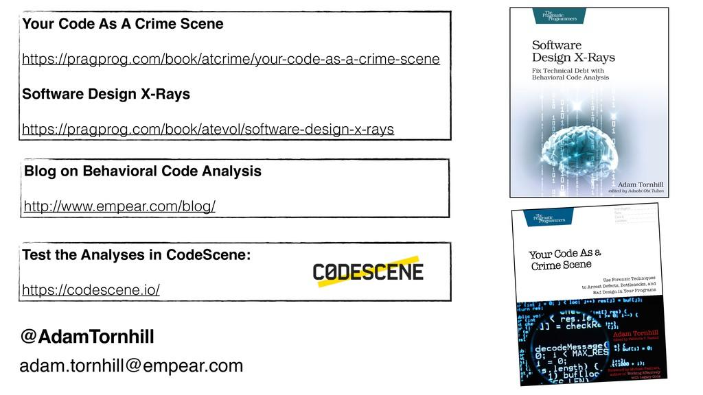 @AdamTornhill Blog on Behavioral Code Analysis ...