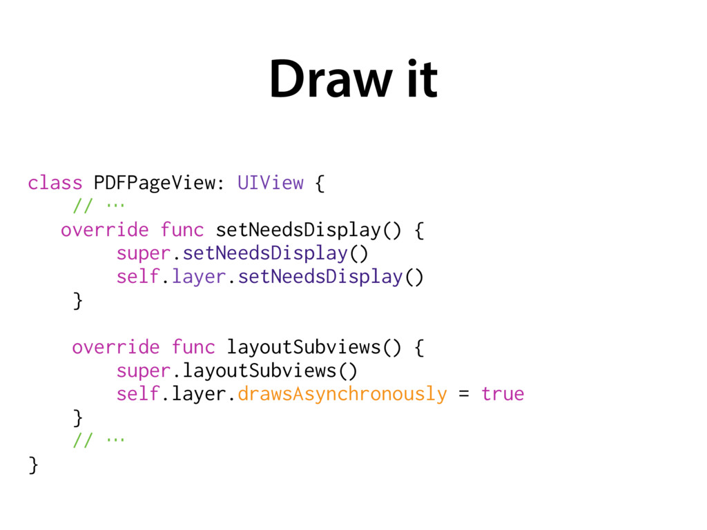 Draw it class PDFPageView: UIView { // … overr...