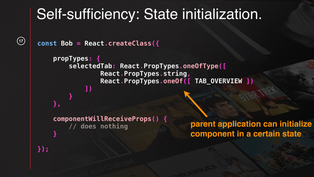 17 Self-sufficiency: State initialization. const...