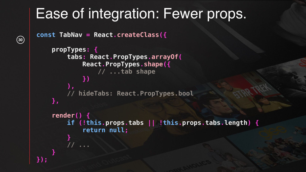 30 const TabNav = React.createClass({ propTypes...