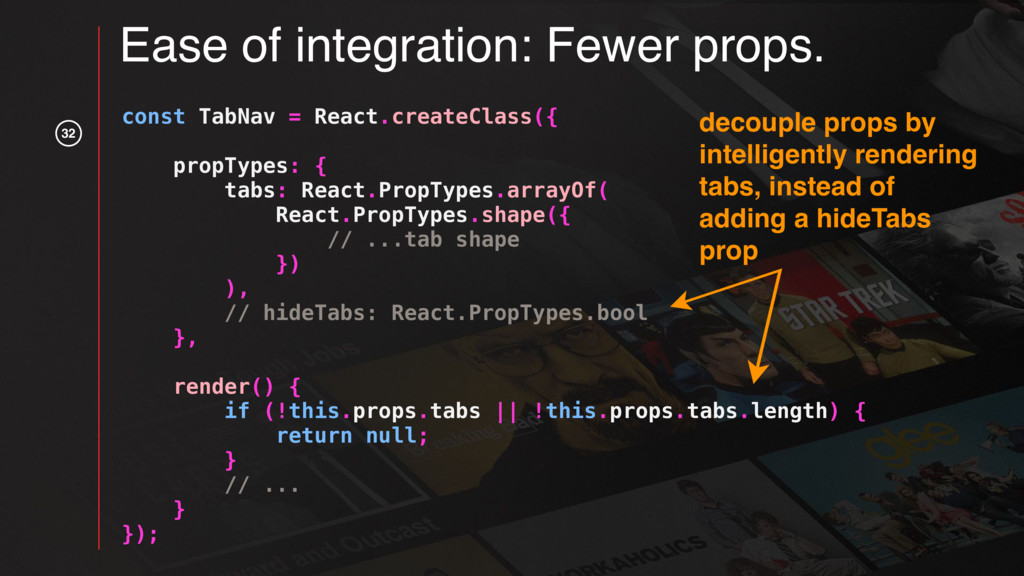 32 const TabNav = React.createClass({ propTypes...