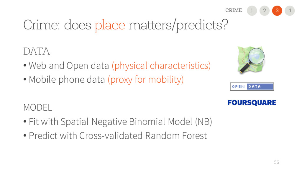 Crime: does place matters/predicts? 56 DATA • W...
