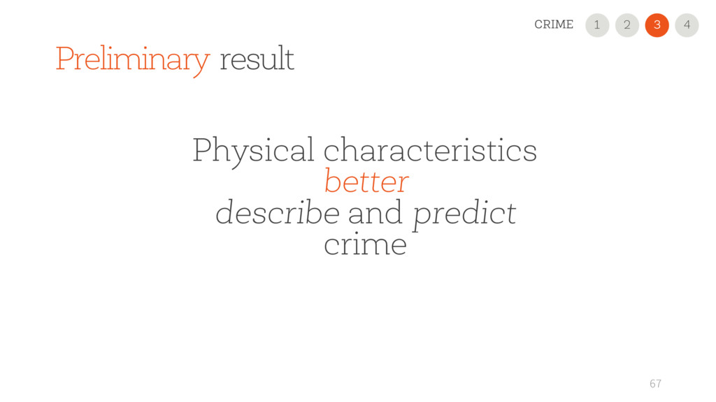 Preliminary result 67 Physical characteristics ...