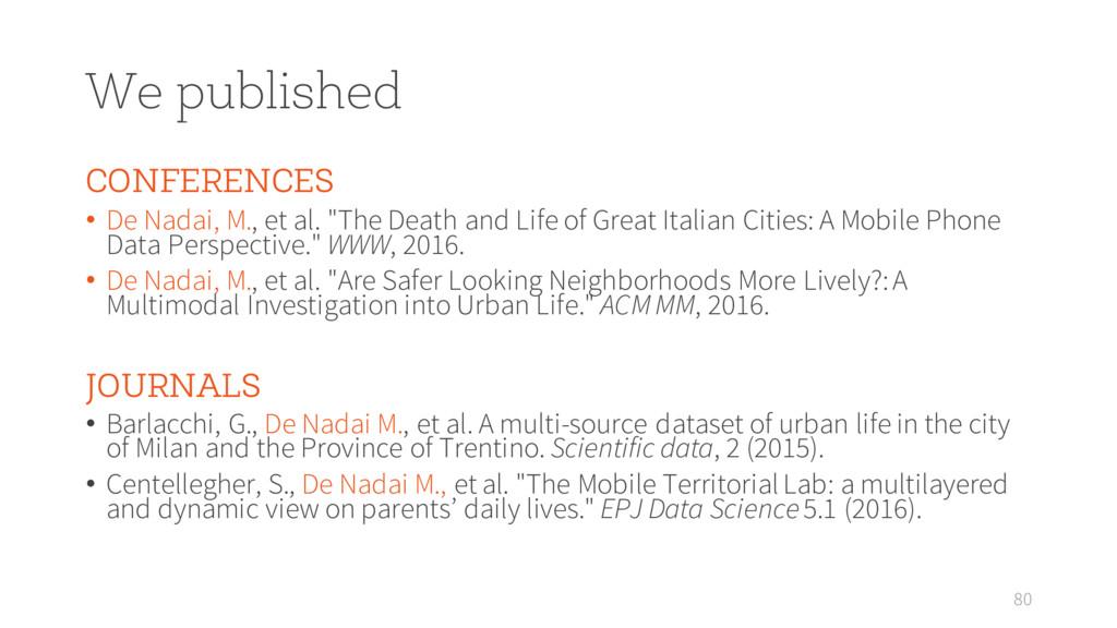 We published CONFERENCES • De Nadai, M., et al....