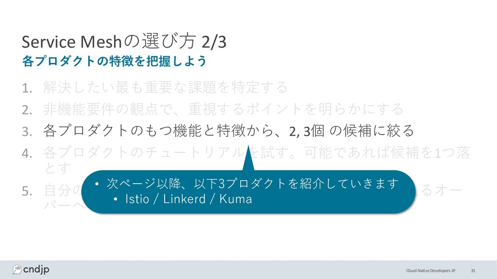 Cloud Native Developers JP Service Meshの選び⽅ 2/3...