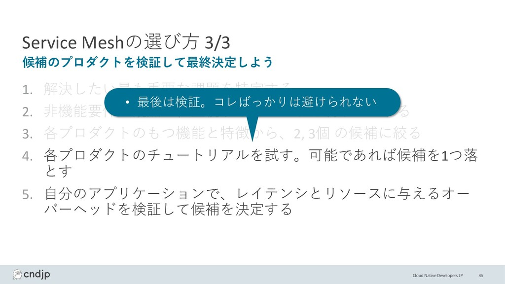 Cloud Native Developers JP Service Meshの選び⽅ 3/3...
