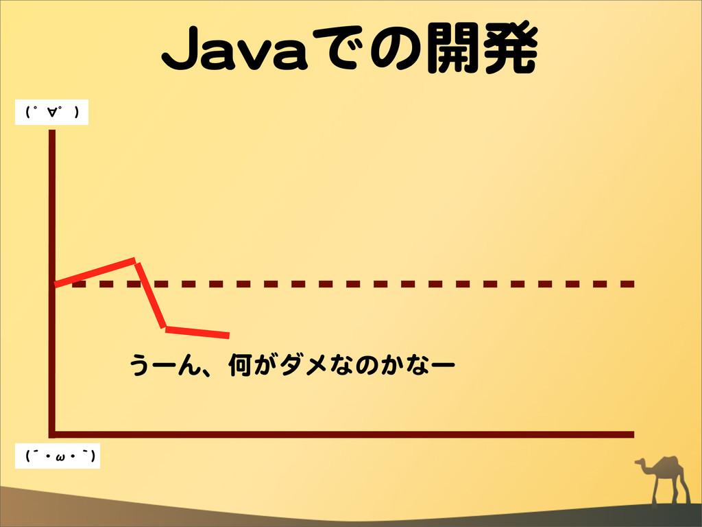 JJaavvaaでの開発 うーん、何がダメなのかなー ((  ゜∀゜  )) ((´・ω・`))