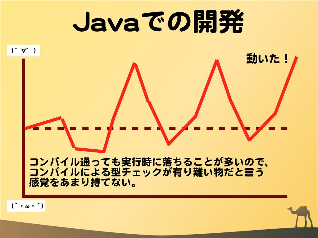 JJaavvaaでの開発 動いた! コンパイル通っても実行時に落ちることが多いので、 コンパイ...