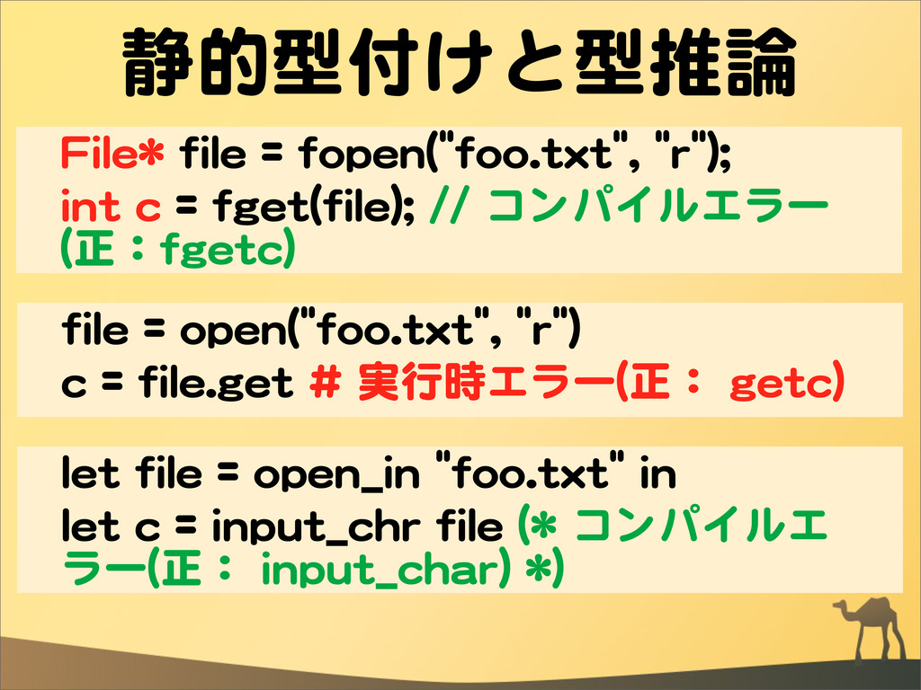 静的型付けと型推論 FFiillee**  ffiillee  ==  ffooppeenn(...