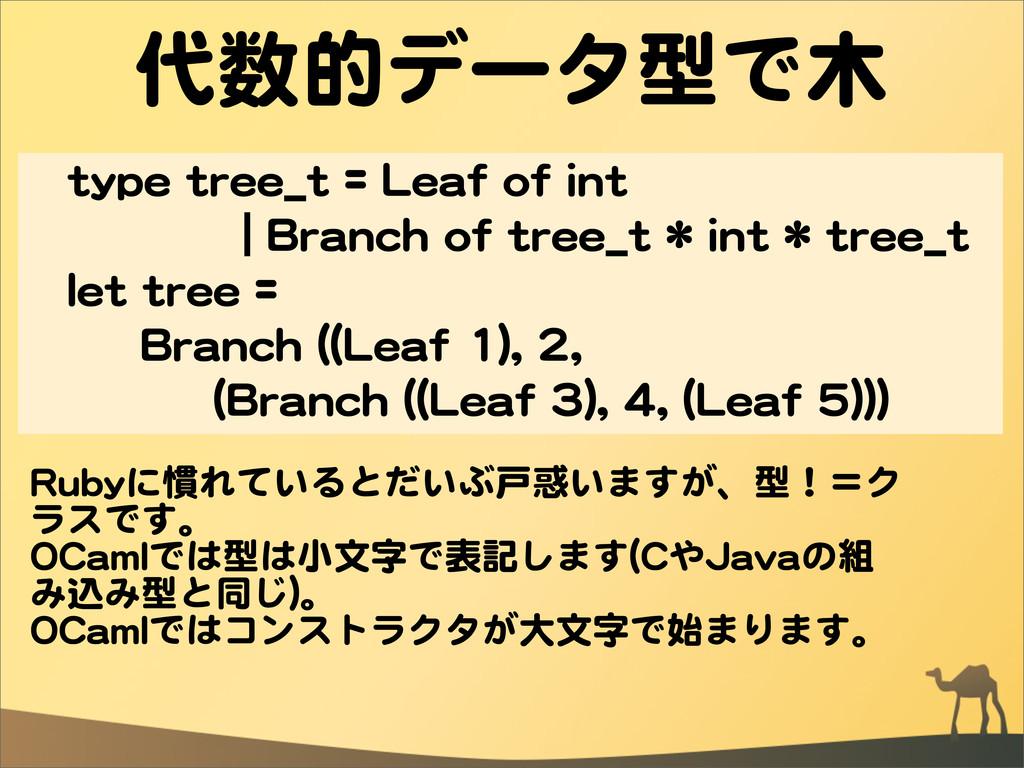 代数的データ型で木 ttyyppee  ttrreeee__tt  ==  LLeeaaff ...