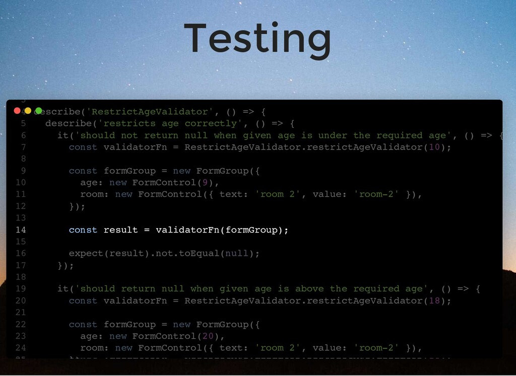 Testing import { FormControl, FormGroup } from ...