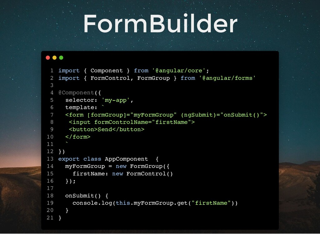 FormBuilder import { Component } from '@angular...