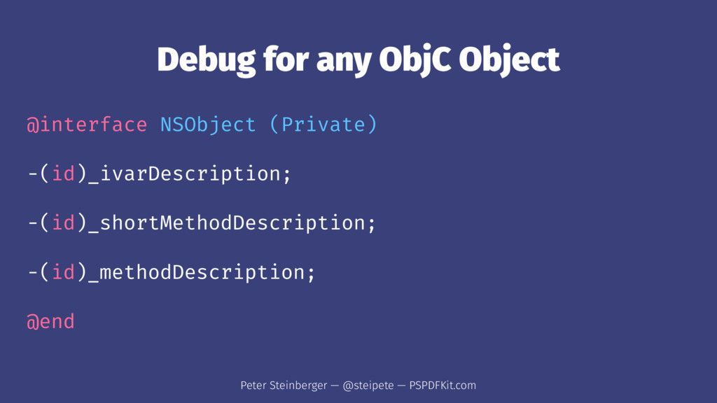 Debug for any ObjC Object @interface NSObject (...