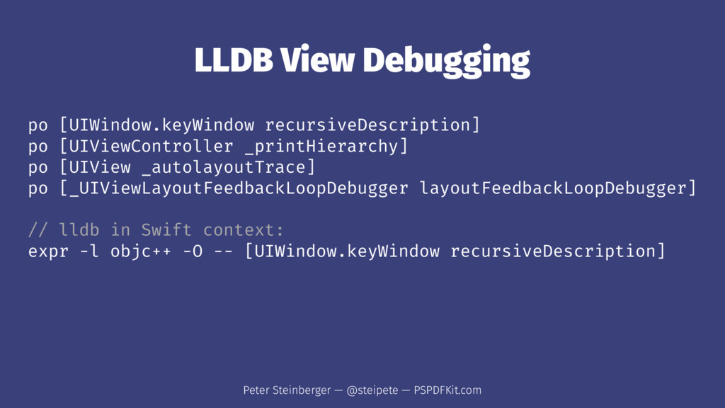 LLDB View Debugging po [UIWindow.keyWindow recu...