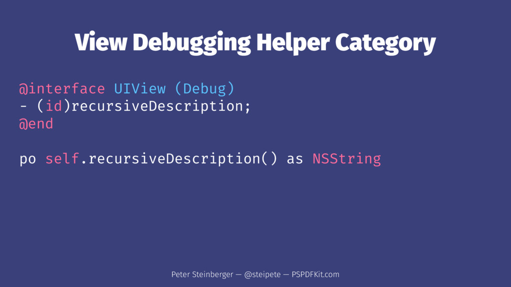 View Debugging Helper Category @interface UIVie...