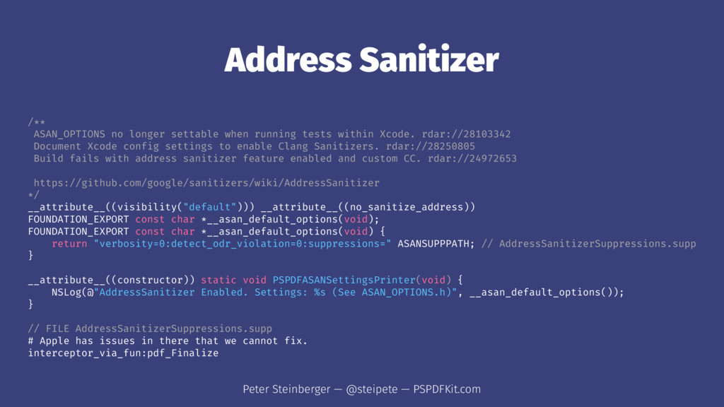 Address Sanitizer /** ASAN_OPTIONS no longer se...